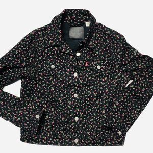 Levi's Levi Strauss Jean Jacket black with roses L
